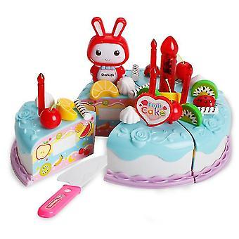 38Pcs כחול צעצוע של ילדים סימולציה עוגה להגדיר עם אורות עוגת יום הולדת אחר הצהריים חטיפי תה ילדים מתנות az11177