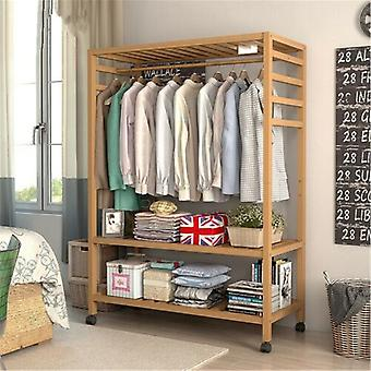Wooden Clothes Rail Scarf Cap Hanging Garment Coat Rack Rolling Stand