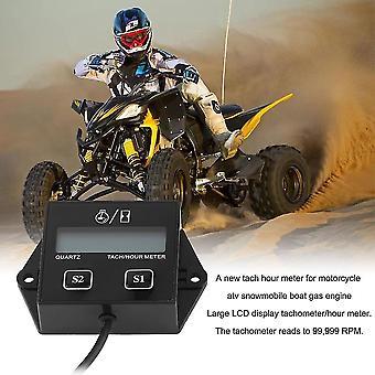 12v Lcd Display Tachometer Hour Meter Motorcycle 2&4 Stroke Gasoline Engine