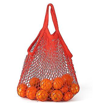 Short Withdrawal Pure Cotton Net Bag Portable Cotton Bag Cotton Supermarket Vegetable(Red)