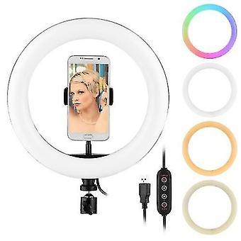 10 pulgadas de luz de anillo RGB lámpara de fotografía LED de colores