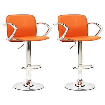 vidaXL Bar Stool 2 Pcs. Orange Faux Leather