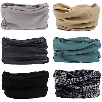 6 Stück Nahtlose Bandanas Multifunktionstuch Schal - Elastiche Multifunktion Stirnband Gaiter