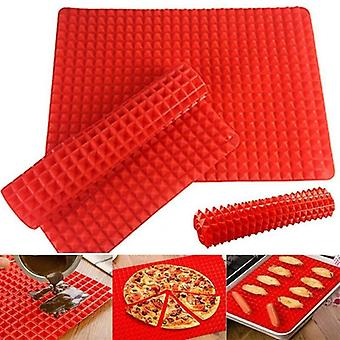 Cooking Pyramid Pan Fat Reducing Non Stick Silicone Mat Oven Baking Tray Sheet