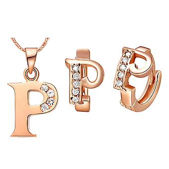 (P)  Alphabet Rhinestone Womens 26 Initial Letter Huggie Earrings Necklace Jewelry Set Rose Gold