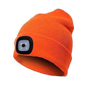 Beanie Hat With Light Unisex Usb Rechargeable Beanie Cap With Light Headlamp Beanie(Orange)
