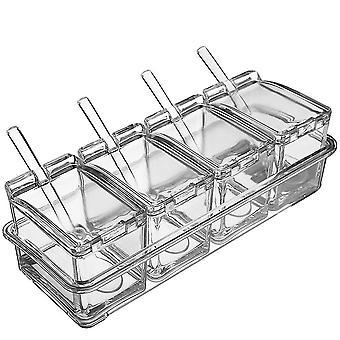 Küche Gewürztöpfe 4 Gitter Klare Gewürzbox Premium Qualität Acryl Behälter und Etui