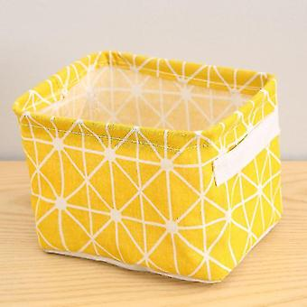 Baskets multi functional cotton linen storage basket for home decor yellow