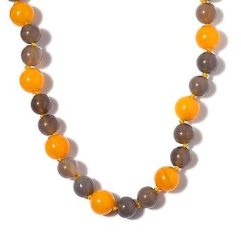 Yellow Agate, Onyx Bead String Necklace in Platinum Plated Silver 18 '' 0.65ct