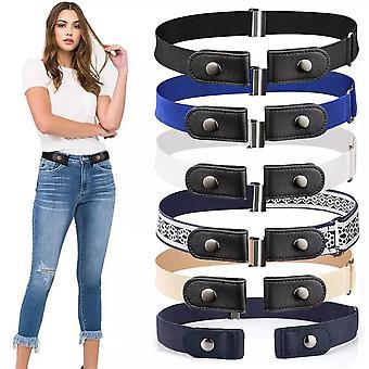 חגורות בלתי נראות ללא אבזם חגורת אלרגיה מתכווננת למכנסי ג'ינס