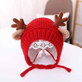 Cute Antlers Knitted Pompom Baby Hat Cap Thick Warm Baby Girl Boy Hat Winter Ear Warm Christmas Hat For 3-36months Baby