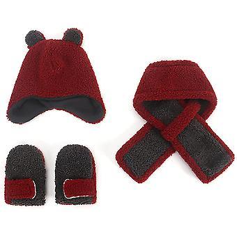 Winter KinderBlase Hut Baby Mädchen Schal Handschuhe Mütze Set Kinder Winter Strickmütze Set Dicken Warm Süßes Ohr Pom