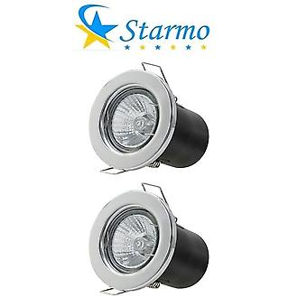 2 x Starmo Fire Rated Recessed Ceiling Spotlights Starmo GU10 LED Bulbs Various Colours