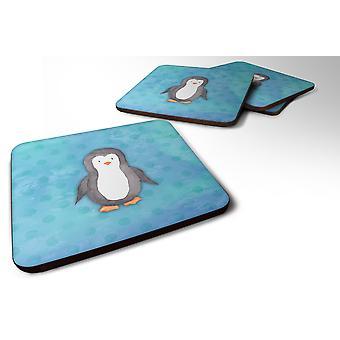 Sett med 4 Polkadot Penguin akvarell skum Coasters sett med 4