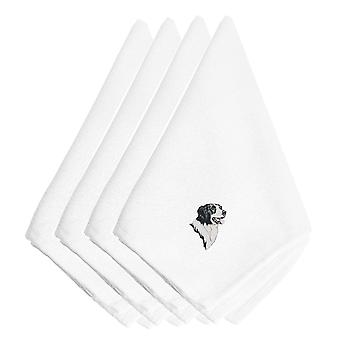 Carolines Treasures  EMBT2497NPKE Border Collie Embroidered Napkins Set of 4