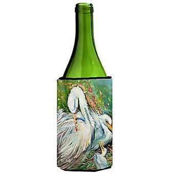 Garza blanca en la botella de vino de lluvia bebida aislador Hugger