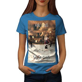 Santa Claus Christmas Women Royal BlueT-shirt | Wellcoda