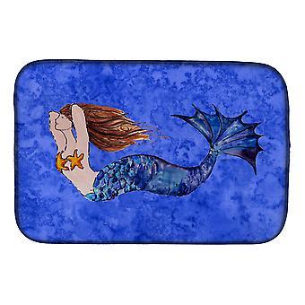 Carolines Treasures  8725DDM Brunette Mermaid on Blue Dish Drying Mat
