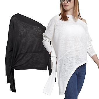 Urban classics ladies - asymmetric slub fine knit sweater