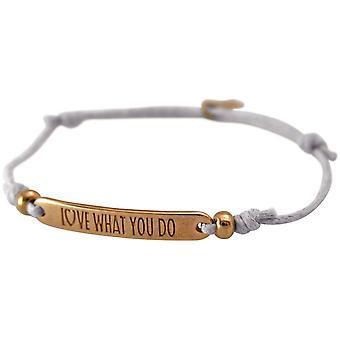 Gemshine Damen Armband Gravur LOVE WHAT YOU DO Rose Vergoldet Hellgrau