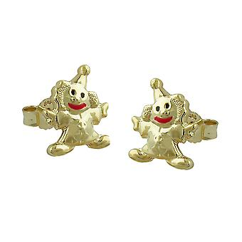Children earrings gold 375 children's jewellery clown mouth red 9 KT GOLD