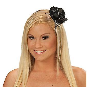 Damenhut Pailletten schwarz Haarreif