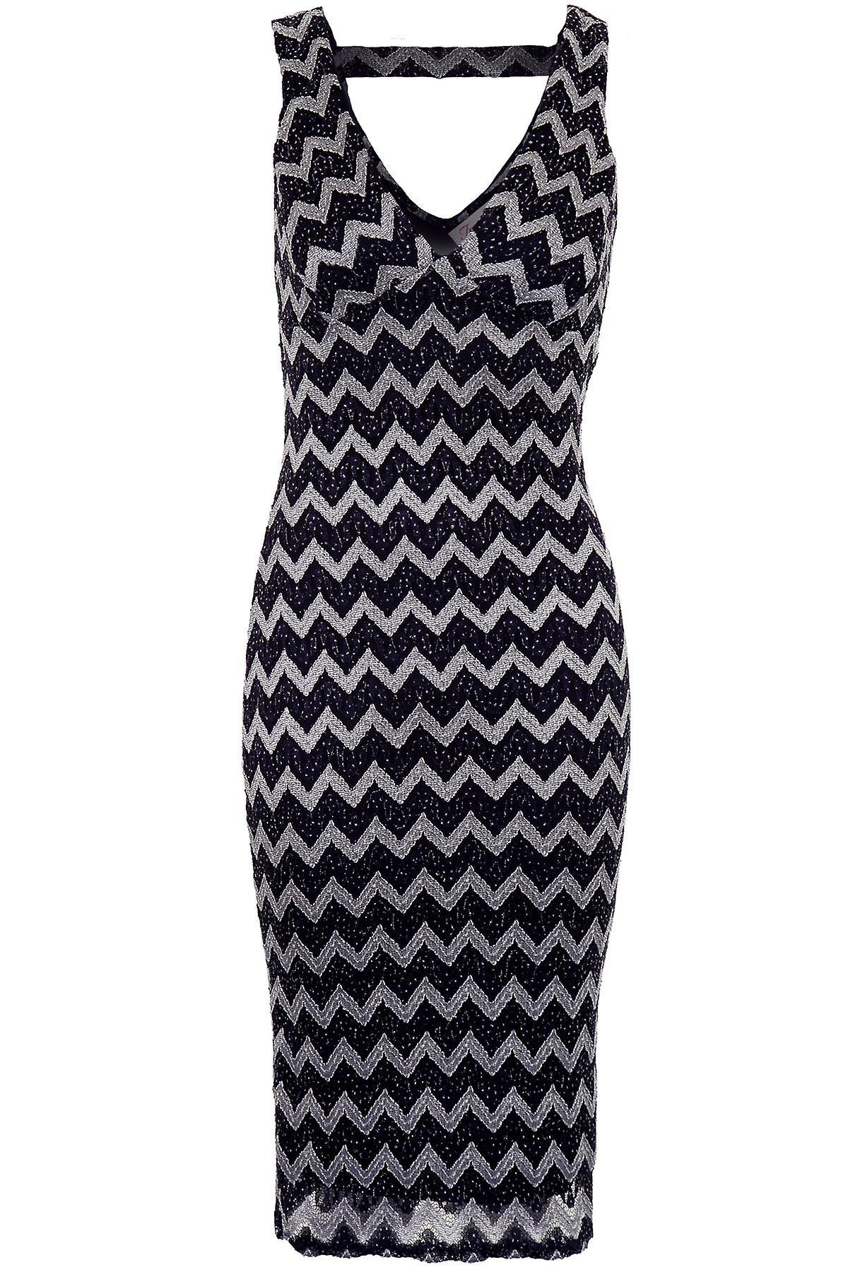 Ladies V Neck Back Lined Glittery Zig Zag Women's Bodycon Knee Midi Dress