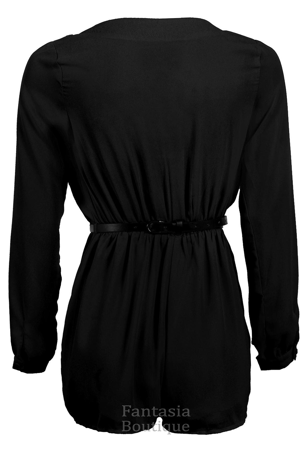 Women/'s Chiffon Belted Long Sleeve V Neck Wrap Front Ladies Shorts Playsuit