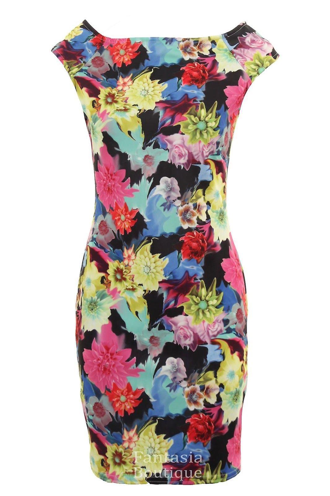 Ladies Sleeveless Multi Colour Floral Print Stretch Bodycon Women's Short Dress