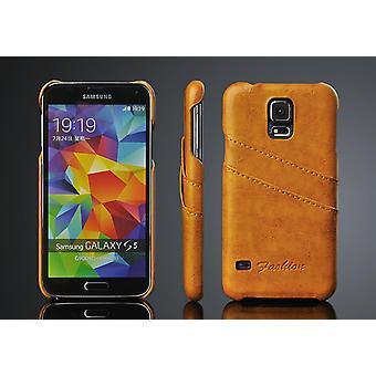 Plånboksfodral skal läder Samsung Galaxy S5 med 2st korthållare
