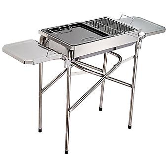 Outsunny Rectangular Stainless Steel Adjustable Pedestal Charcoal Barbecue Grill - Silver