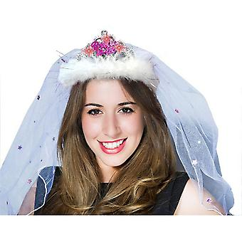 Alandra Bride To Be Flashing Pink Tiara Veil