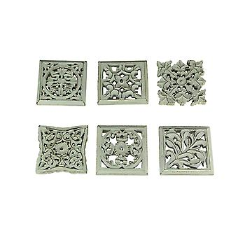 Distressed White Wood Decorative Scrollwork Wall Sculptures Set of 6