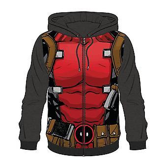 Bioworld Mens Marvel Comics Deadpool Sublimation Full Length Zipper Hoodie Small