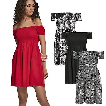 Urban Classics Ladies-Smoked Off Shoulder Summer Dress