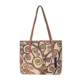 Gustav klimt - tree of life shoulder tote bag by signare tapestry / coll-art-gk-tree