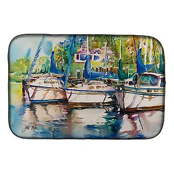 Carolines Treasures  JMK1071DDM Safe Harbour Sailboats Dish Drying Mat