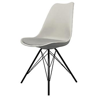 Fusion Living Eiffel Inspired Light Grey Plastic Dining Chair With Black Metal Legs