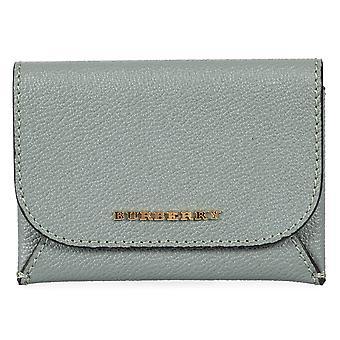 Burberry Haymarket Mayfield Leather Card Case in Myrtle Green