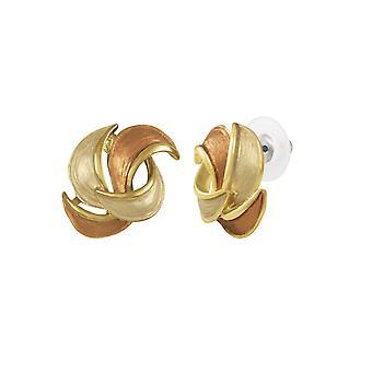 Eternal Collection Enriched Brown/Beige Enamel Gold Tone Pierced Earrings