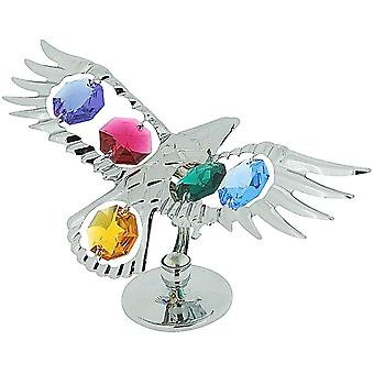 Crystocraft Freestanding Chrome Plated Soaring Eagle Ornament Made With Swarovski Crystals