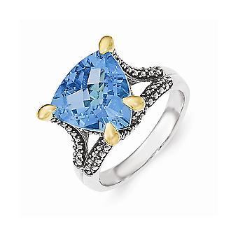 925 sterling zilver met 14k lt Swiss Blue Topaz Ring-Ring grootte: 6 tot en met 8