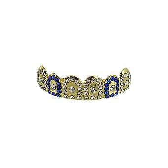 Grillz Guld Gatekeeper Iced Out Clear N Blue Cz Diamonds [top]