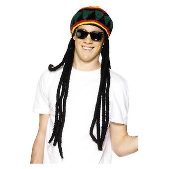 Béret de mens Rasta avec Dreadlocks déguisements accessoire
