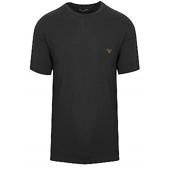 Emporio Armani Loungewear Black Embroidered Logo Short-Sleeved T-Shirt