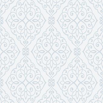 Kroon jasmijn scroll behang poeder blauw M1090