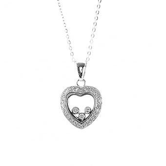 Evigheden sterling sølv flydende cubic zirconia hjerte vedhæng og 18 ' ' kæde