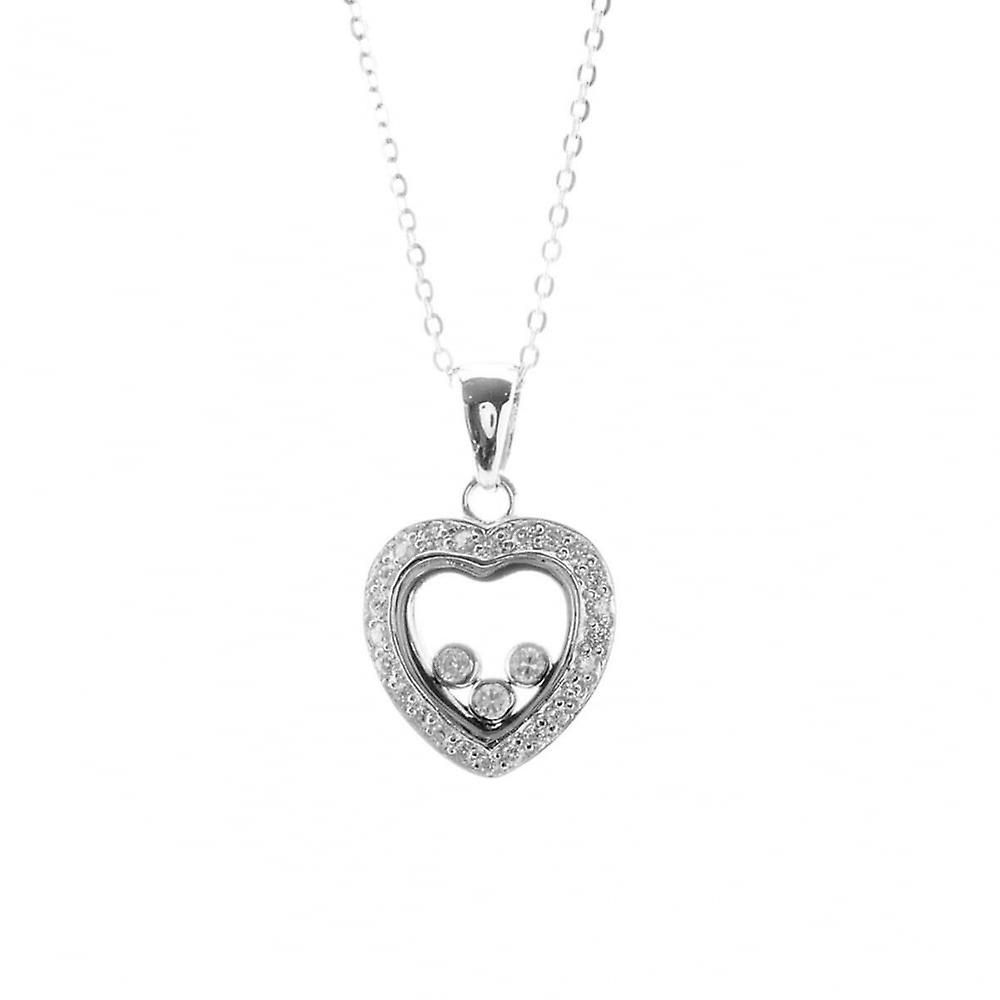 Eternity Sterling Silver Floating Cubic Zirconia Heart Pendant And 18'' Chain