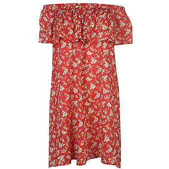 Nvme Womens Ladies Ella Bardot Off Shoulder Short Sleeve Mini Summer Dress