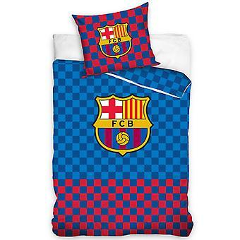 FC Barcelona Checked Single Duvet Cover Set